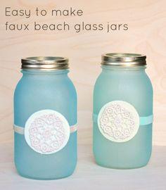 Cute DIY Mason Jar Ideas - Faux Beach Glass Jars - Fun Crafts, Creative Room Decor, Homemade Gifts, Creative Home Decor Projects and DIY Mason Jar Lights - Cool Crafts for Teens and Tween Girls http://diyprojectsforteens.com/cute-diy-mason-jar-crafts