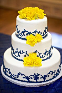 Blue and yellow wedding cake! Cake by Serendipity Cakes in New Braunfels, TX