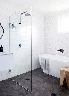 Small Bathroom Design Ideas Recommended For You. Believe or not, small bathroom design ideas can look spacious and practical if you decorate it right. Bathroom Floor Tiles, Laundry In Bathroom, Bathroom Renos, Bathroom Interior, Master Bathroom, Wet Room Bathroom, Bathroom Remodeling, Remodeling Ideas, Bathroom Black