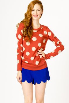 Polkadot Pullover and blue scallop shorts