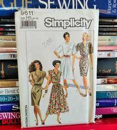 1990 Simplicity Pattern 9611-Misses' Dress-Sleeveless, Full or Straight, Button-Front-Shirtwaist Dress-Sz 6-8-10-12-14-Bust 30.5-36-UNCUT by PaperWardrobesEtc on Etsy