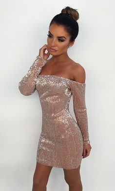 I& Got Stamina Champagne Sequin Long Sleeve Off The Shoulder Bodycon Mini Dress Homecoming Dresses Tight, Hoco Dresses, Tight Dresses, Sexy Dresses, Cute Dresses, Dress Outfits, Evening Dresses, Fashion Dresses, Mini Dresses
