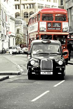 Red Double Decker Bus and Black Taxi in London. England And Scotland, England Uk, London England, Wales, Black Cab, Black White, London Bus, London Icons, Kingdom Of Great Britain