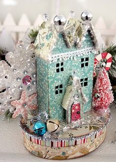 Image detail for -Ally Scraps: Vintage Christmas village. Christmas Giveaways, Noel Christmas, All Things Christmas, Christmas Ornaments, Christmas Glitter, Christmas Paper, Shabby Chic Christmas, Vintage Christmas, Vintage Winter