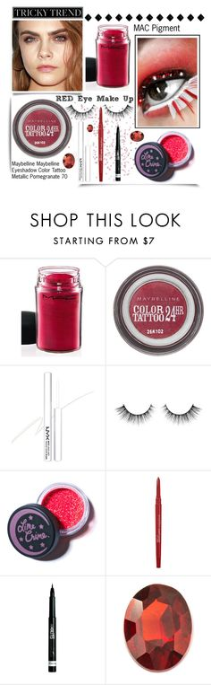 """""""Tricky Trend: Red Eye Makeup"""" by ladygroovenyc ❤ liked on Polyvore featuring beauty, MAC Cosmetics, Maybelline, NYX, Lime Crime, Smashbox, Rimmel, Loquet, mac and nyx"""