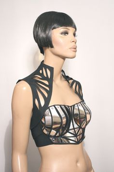 steampunk corset armour amor top made in B- C cup to yr size. Firm bra closure with 4 elastic adjustable bands. Made from embroidered hand shaped ,light Fashion Art, High Fashion, Fashion Design, Corsets, Jolie Lingerie, Lace Lingerie, Lingerie Models, Future Fashion, Burning Man