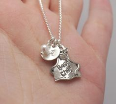 Best Chef Necklace, Best Cook Necklace, Hand Stamped Initial Necklace, Sterling Silver Disc, Gift for Baker, Gift for Cook, Cupcake