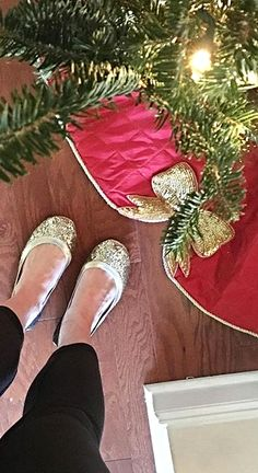 @caycee07  Features our Red Bow Tree Skirt in her holiday home tour...