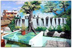 Vista de la Terraza. Mural pintado.