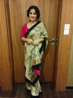 Vidya Balan in a handpainted kalamkari saree on tussar silk - MinMit Clothing Latest Indian Saree, Indian Sarees, Indian Dresses, Indian Outfits, Kalamkari Saree, Vidya Balan, Indian Fabric, Elegant Saree, Casual Saree