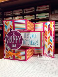 Today's card is another fancy fold card for you called the tri-fold shutter. How cool is this card?!? I love how it stands up and can be put on display – sure to bring the recipient lots of happiness. I made this card using 8.5″ x 11″ card stock for the base, cut to 10.5″…