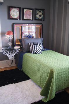 Side table, lamp, headboard - Brilliant ideas for the headboard and the side table/lamp.  Jack LOVED this idea