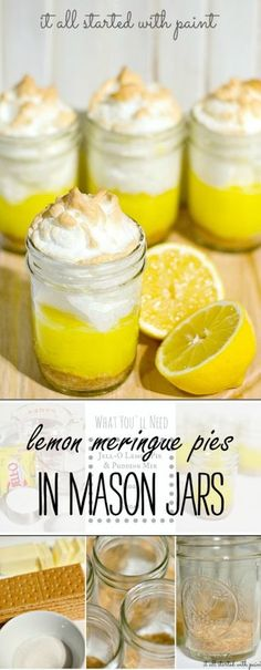 Mason Jar Lemon Meringue Pies: Single Serve Dessert Ideas Mason jar lemon meringue pies recipe for individual servings in mason jars; quick and easy recipe idea that will wow your guest. Full recipe included in how to tutorial Dessert Oreo, Dessert In A Jar, Brownie Desserts, Köstliche Desserts, Lemon Desserts, Lemon Recipes, Pie Recipes, Delicious Desserts, Dessert Recipes