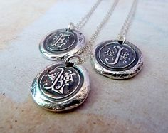 Silver Letter Pendant. Initial Monogram Wax Seal Necklace. Any Letter. Wax Seal Personalized Fine Silver Jewelry. Made to Order. $54.00, via Etsy.