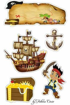 Jake and the Neverland Pirates Free Printable Cake Toppers. Deco Stickers, Cute Stickers, Pirate Theme, Pirate Party, Jake Le Pirate, Diy And Crafts, Crafts For Kids, Movie Crafts, Kids Prints