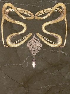 Foglia oro, pizzo e cristallo  Изготовленнo из сусального золотa, кружевa и хрусталя Golden leaf, crystal and lace Hoja oro, cristal y encaje