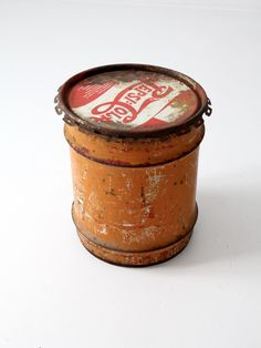 circa 1940s A well-worn vintage Pepsi-Cola concentrate can. The 10 gallon metal…