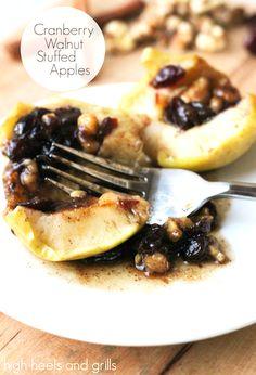 Cranberry Walnut Stuffed Apples. #dessert #christmas #easy http://www.highheelsandgrills.com/2014/11/cranberry-walnut-stuffed-apples.html