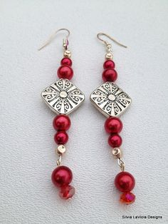 Red Pearls Earrings by SilviaLaViola on Etsy, $10.00