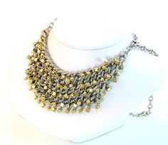 Matte Silver and Gold Chain Bib Necklace by lovelandshadetree, $30.00