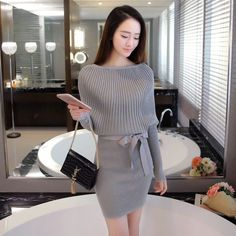 RQUEENA Wholesale New Autumn Knitted Dress For Women Batwing Sleeve Sexy Sweater Dress
