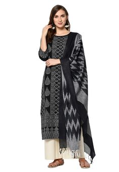 Buy Black Cotton Palazzo Suit 207954 online at lowest price from huge collection of salwar kameez at Indianclothstore.com.