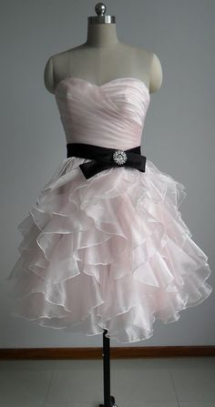 Organza Homecoming Dresses,A-line Sweetheart neckline Homecoming Dresses,Pink Homecoming