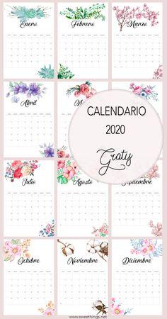 Calendario 2020 gratis para descargar #calendario #calendario2020 #imprimibles #gratis #mysweetthingsbypili