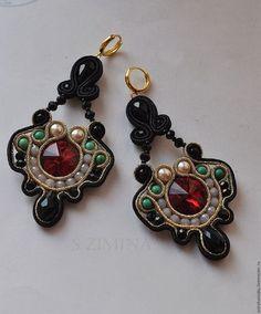 Купить Серьги в стиле DG проданы - ярко-красный, сутажные украшения, дольче габбана