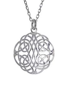 """This intricately wrought pendant, finely hand crafted in Ireland of lustrous sterling silver, presents this age old symbol of eternity and hope at a perfectly sized .9"""" in diameter on a matching 18"""" sterling silver chain. Hallmarked in the Assay Office in Dublin Castle, it's a treasure to wear every day."""