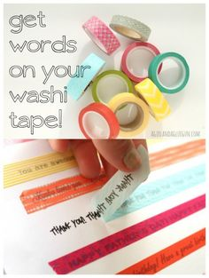 get words on your washi tape. print words on paper. cover words with washi tape. Washi Tape Cards, Washi Tape Diy, Duct Tape, Masking Tape, Washi Tape Journal, Washi Tape Planner, Washi Tape Keyboard, Washi Tape Storage, Wash Tape