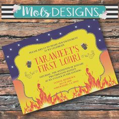 Items similar to LOHRI BONFIRE Indian Punjabi Baby Celebration Festival Decorated Elephant Song and Dance Flames Fire Baby Shower Barbecue Cookout January on Etsy Custom Party Invitations, Photo Invitations, Digital Invitations, Invites, Happy Lohri, Shirt Tucked In, Diaper Raffle Tickets, Personalized T Shirts, Custom T