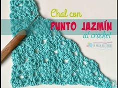 Shawl o Chal de Piñas a Crochet con Borde punto Nudo de Solomon - Ganchillo fácil - YouTube