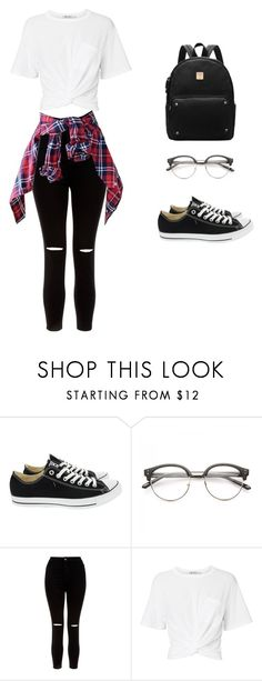 """Flannel outfit"" by daisydukes137 ❤ liked on Polyvore featuring Converse, New Look and T By Alexander Wang"