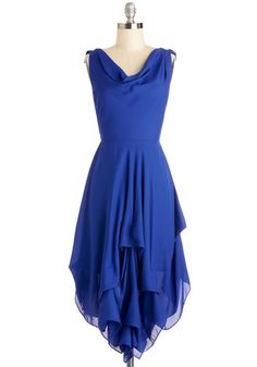 Wrapped Up in Drama Dress - Woven, Mid-length, Blue, Solid, Ruffles, Special Occasion, Party, A-line, Sleeveless, Better, Cowl, Backless, Tiered