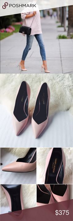 "Saint Laurent Blush V-Cut Pumps •Authentic Saint Laurent Classic Paris Skinny 105 Escarpin V Pumps in Pale Blush Leather  •Signature pumps with square stiletto heel and a low V-cut vamp. Heel height 4.1"".  •Size EU37.5, runs a half size small and would be"