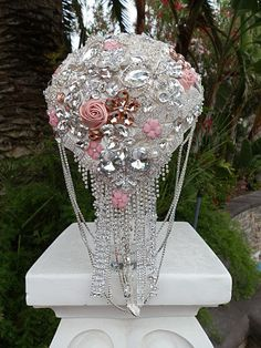 Brooch Bouquet Deposit For This Custom Made Gorgeous Cascading With Pink Accents