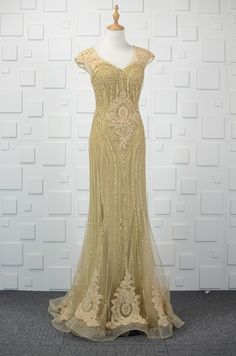 See Through Long Mermaid Gold Tulle Beaded Prom Evening Dress V Neck Cap Sleeves Winter Prom Dresses, Gold Prom Dresses, Cheap Evening Dresses, Lace Bridesmaid Dresses, Prom Dresses Online, Wedding Dress, Satin Formal Dress, Formal Dresses, Prom Dresses With Pockets