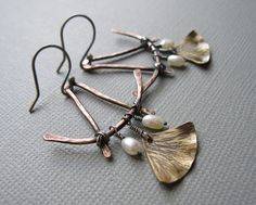 Asian ginkgo leaf mixed metal pearl earrings/sterling silver/copper brass