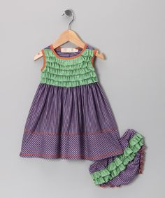 Take a look at this Purple Stripe Dress & Diaper Cover - Infant by Love Loves Luv on #zulily today!