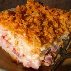 This is one of my favorite casseroles that I've created over the years. It's a delicious, creamy, cheesy ham and potato casserole with a crunchy, buttered cornflake topping. It's a great recipe for making the most of your leftover Easter ham! Best Potato Recipes, Pork Recipes, Cooking Recipes, Favorite Recipes, Recipes Using Ham, Cooking Fish, Yummy Recipes, Leftover Ham Recipes, Sweets