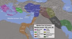 """Eastern Mediterranean and Middle East in the 14th century BC. Adapted by Alexikoua, from """"History Year by Year"""" by Dorling Kindersley Ltd, 2011"""