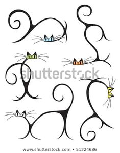Stylized Cats In Different Poses Stock Vector 51224686 : Shutterstock Cat Drawing, Line Drawing, Cat Tattoo, Tattoo Drawings, Silhouette Chat, Cat Crafts, Rock Art, Doodle Art, Cat Art