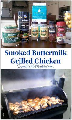 The Best Buttermilk Grilled Chicken Smoked Buttermilk Grilled Chicken - Tried and True Recipe Traeger Recipes, Grilling Recipes, Grilling Ideas, Traeger Bbq, Vegetarian Grilling, Healthy Grilling, Barbecue Recipes, Barbecue Sauce, Smoked Meat Recipes