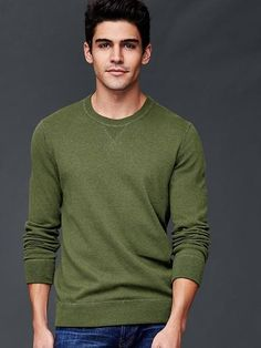 1d343c406597a Gap Mens Cotton Crew Sweater Olive Heather Usados