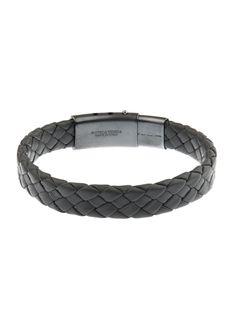 d3e8f8716544a Bottega Veneta Flat Intrecciato Leather Bracelet in Gray for Men (GREY) |  Lyst Leather