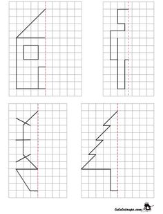 education scissors for example symmetry symetrie figure mirror axis distance ge Symmetry Worksheets, Preschool Worksheets, Preschool Learning, Kindergarten Math, Preschool Activities, Teaching, Visual Perception Activities, Graph Paper Art, Montessori Math