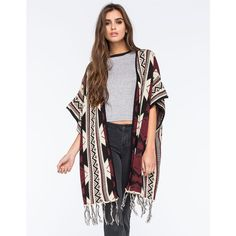 Full Tilt Native Fringe Womens Cardigan ($25) ❤ liked on Polyvore featuring tops, cardigans, multi, fringe cardigan, dolman sleeve cardigan, open front cardigan, drape top i layering cardigans