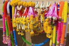 Garlands on Buddhist shrine