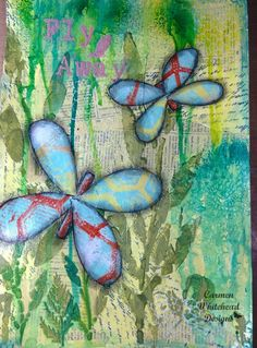 Fly away art journal page created by Carmen Whitehead Designs #artjournal